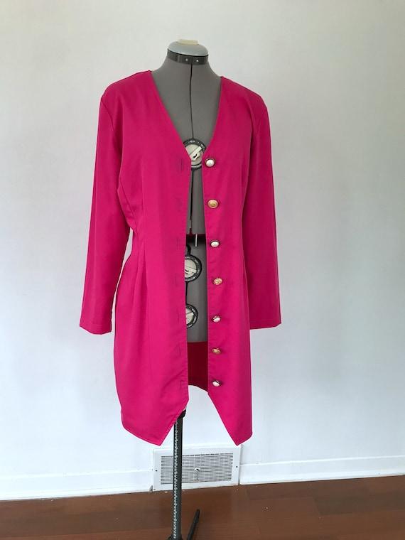 1980s Hot Pink Button Up Dress, Vintage 1980s Pri… - image 7