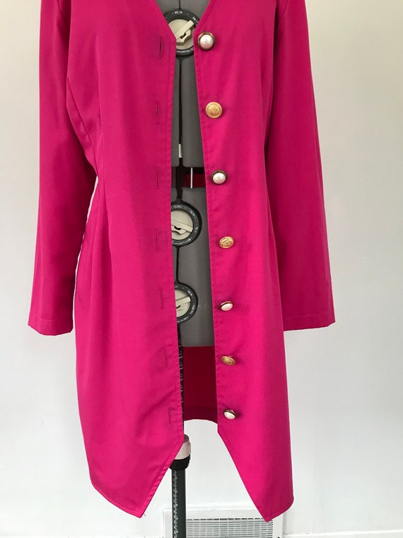 1980s Hot Pink Button Up Dress, Vintage 1980s Pri… - image 9