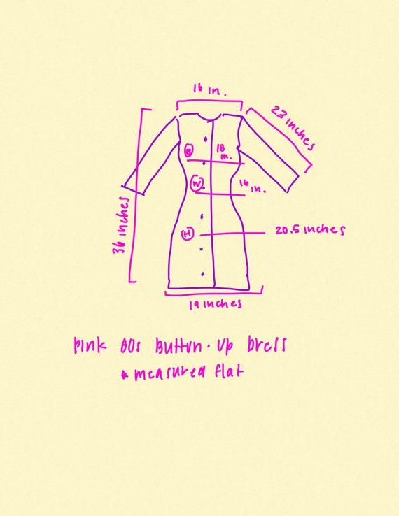 1980s Hot Pink Button Up Dress, Vintage 1980s Pri… - image 2
