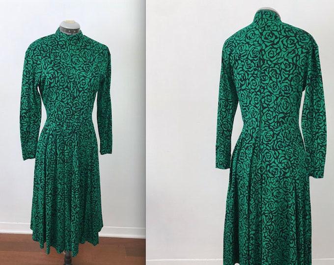 Vintage Green Rose Print Country Western Dress