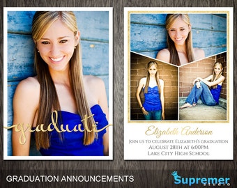 Graduation Announcements Templates Graduation Card Templates Etsy