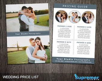 wedding price list template wedding photography pricing etsy