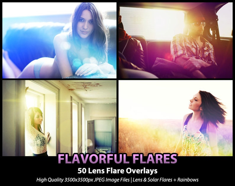 50 Photoshop Actions Overlays Flavorful Flares Lens Flare Solar Flare