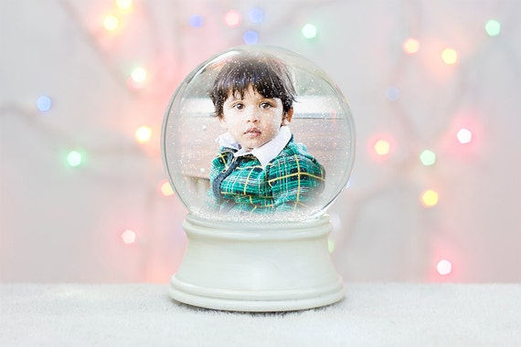 photoshop snow globe template christmas card holiday etsy