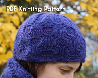 e23dbac018eb PDF Knitting Pattern  Helix Beanie worsted-weight cabled