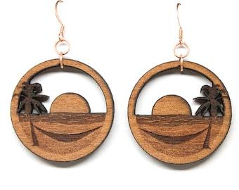 Beach Earrings Sunset Earrings Palm Tree  Wood Earrings Gifts for Her Mom Wife Girlfriend Summer Jewelry Summer Earrings Gift for Her