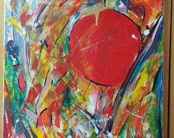 Red Circle Abstract Painting