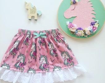 Unicorns and flowers skirt