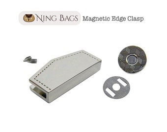 Magnetic Edge Clasp (High Quality), Magnetic Edge Closure, Trim Edge Snap Closure for Purse, Clutches, Totes in Nickel Finish