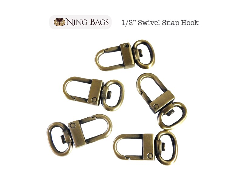 Swivel Clasp Hook for Purse Bag Strap Hook Set of 6  12 Swivel Snap Hook Clutch in Brushed Antique Brass ***NEW***
