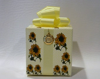 Sunflower Music box wrapped as a gift