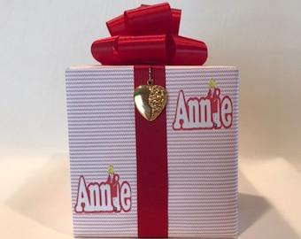 Annie Music box wrapped as a gift