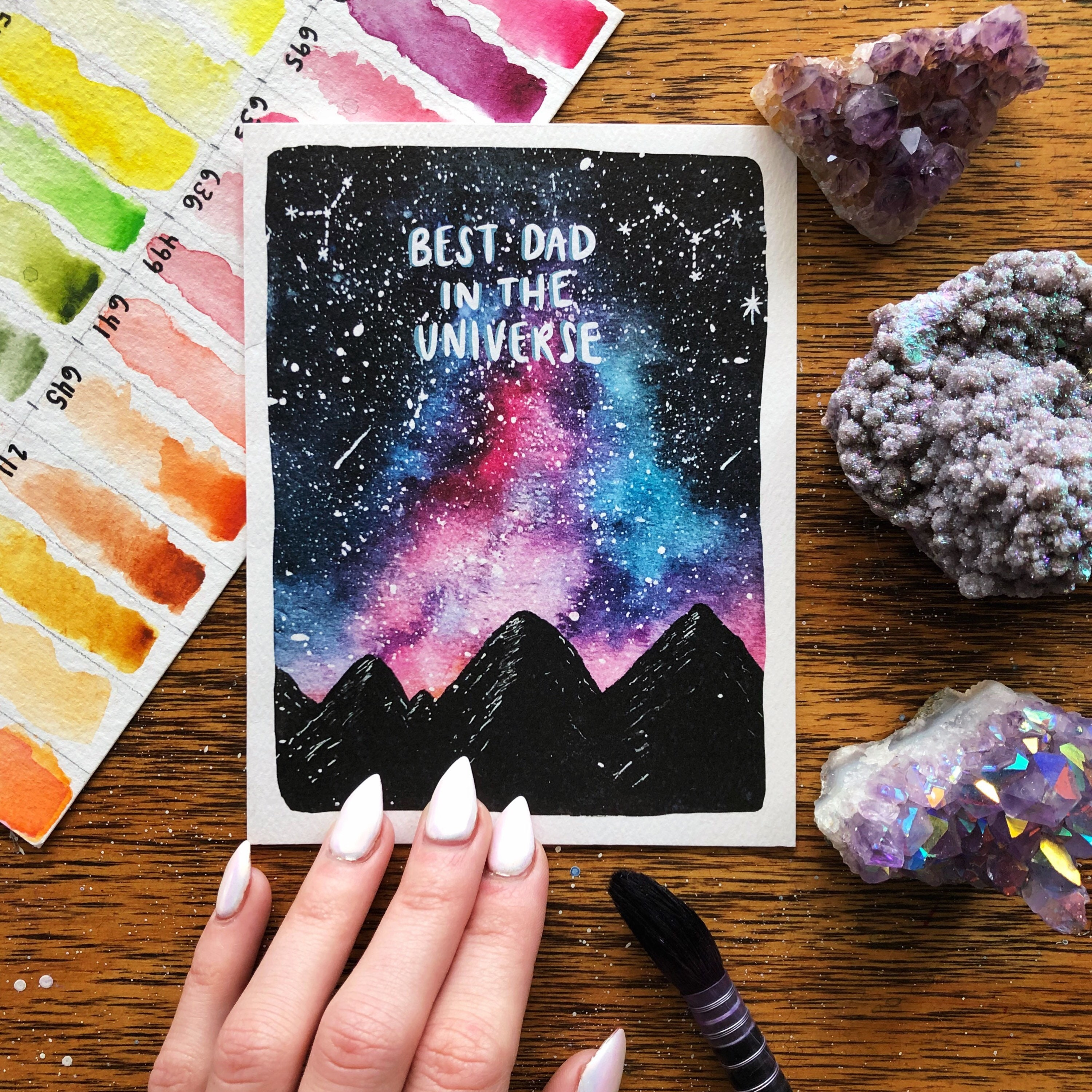 Best Dad In The Universe Greeting Card Space Father Etsy