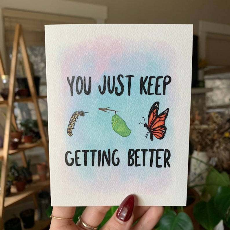 Greeting Card Butterfly You Just Keep Getting Better Watercolor