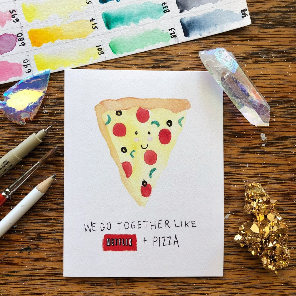 Netflix Pizza Grußkarte Aquarell TV | Etsy