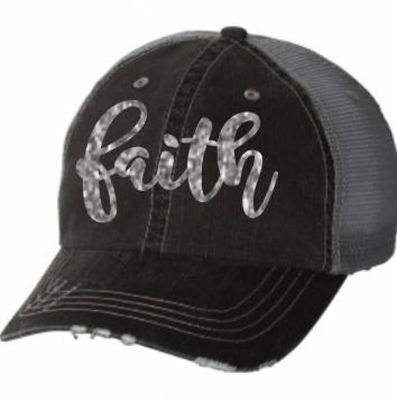 7d6fae826b8 Distressed trucker cap blessed faith hope love cap