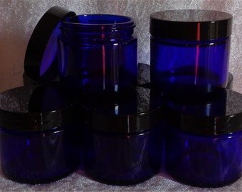 Small Glass Jars: 1-oz OR 2-oz Cobalt Blue with lined cap for beauty creams lotions made with essential oils new empty (Set of 6)