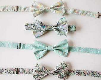 Blue Bow Tie,YOU CHOOSE COLOR,  blue bow tie, aqua, liberty of london, custom groomsmen tie, floral bow tie, blue groomsmen bow tie, floral