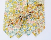 Pink Liberty of London Print Necktie, yellow, wedding tie, pink skinny tie, wedding necktie, custom pink bow tie, floral neck tie,