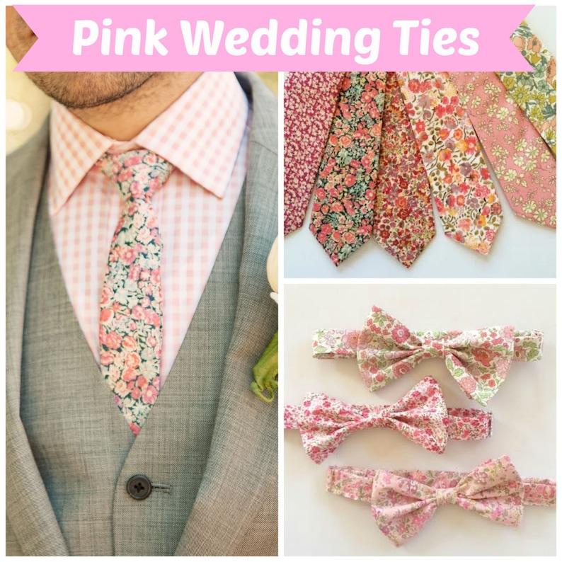 a2792e7b2655 Pink wedding tie Liberty of London Print Necktie custom pink   Etsy