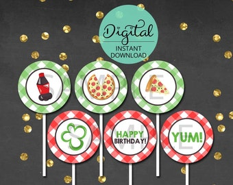 Pizza Cupcake Toppers, Pizza Party, Pizza Birthday, Pizza, Slice, Cupcake Decoration, Party Circles, INSTANT DOWNLOAD #3337