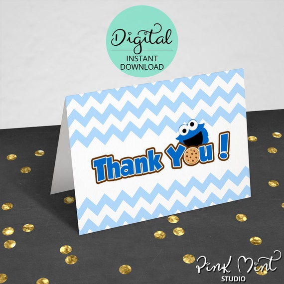 Cookie Monster Birthday Thank You Cards Folded Cards Cookie Etsy