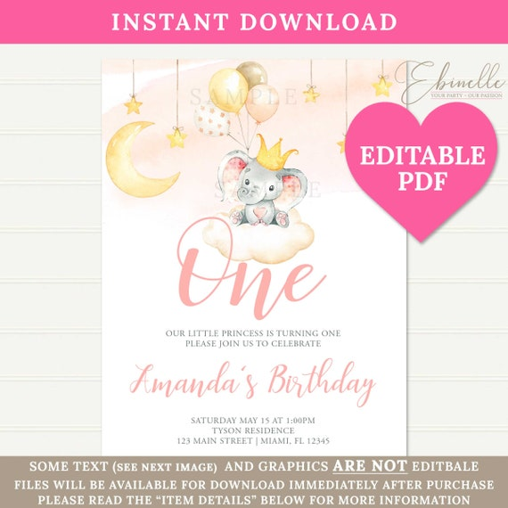 1st Birthday Invitation Cards Girls Pink Watercolor