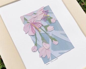 Blossom - original cut-paper collage artwork // Flower illustration / Botanical illustration / Blossom artwork