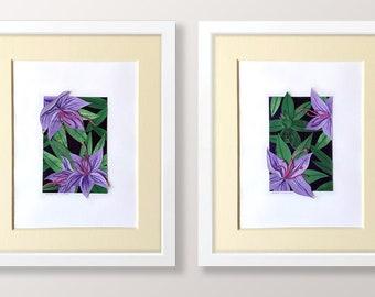 Azalea - original cut-paper collage artworks // Botanical Art / Home Decor / Flowers & Plants Illustration