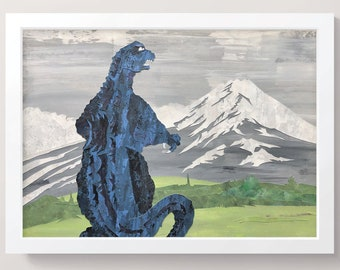 Godzilla at Mt.Aso - original artwork - A3 / Cut-paper collage / Character Illustration / Godzilla Illustration / Home Decor / Godzilla art