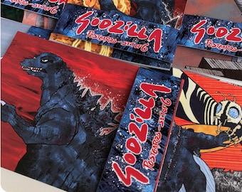 Godzilla Postcard / Art card set of 6 // Showa-era / Gojira / Ghidorah / Rodan / Mothra / Mechagodzilla // Godzilla art / Godzilla gift