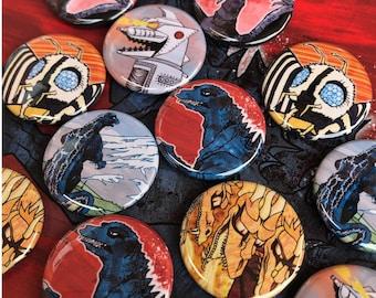 Godzilla badges - 6 different designs // Gojira / Ghidorah / Mothra / Mechagodzilla / Rodan // Godzilla art / Godzilla gift