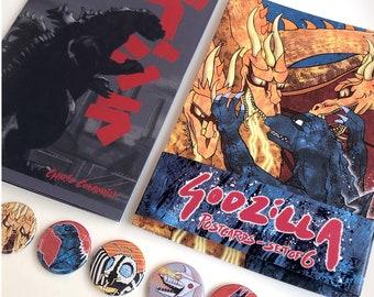 Godzilla Bundle - Postcards, Zine and Button Badge set // Showa-era / Gojira / Ghidorah / Rodan / Mothra / Mechagodzilla // Godzilla art