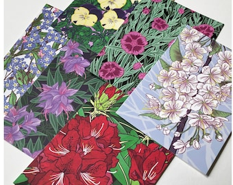 6 Flower Illustration Postcards / Art cards / Mini prints / Notelets / Note Cards // Flower art