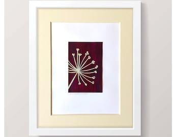 Allium Seed Head original cut-paper collage artwork // botanical artwork / flower collage