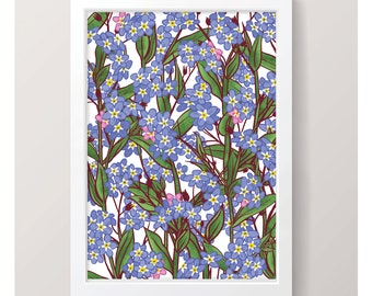 Forget-me-not - Art Print // Illustrated Botanical Wall Art / Illustration Poster / Flowers & Plants Drawing / Home Decor