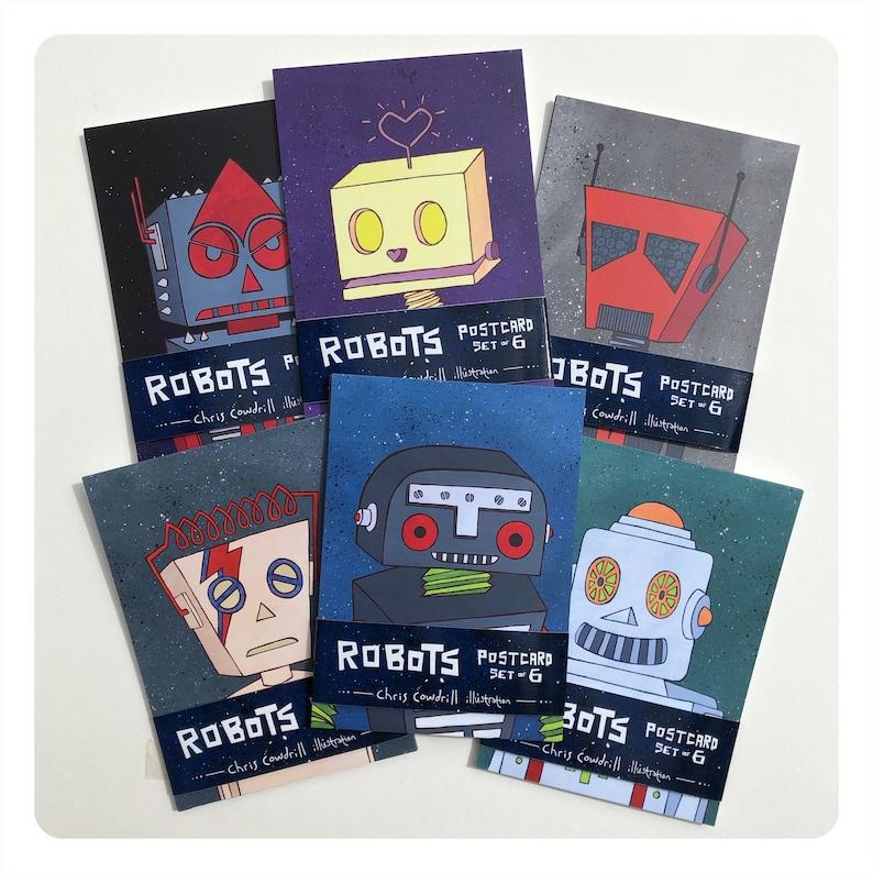 Retro Robot Postcard set of 6  / Art cards / Mini prints  set image 1