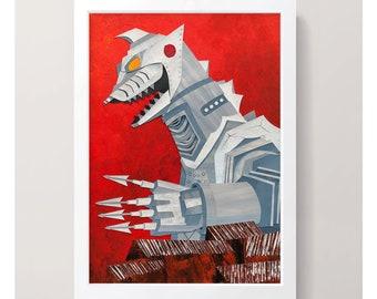 MechaGodzilla original artwork - A3 / Cut-paper collage / Character Illustration / Godzilla Illustration / Home Decor / Godzilla art
