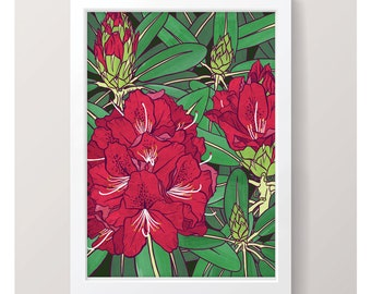 Rhododendron - Art Print // Illustrated Botanical Wall Art / Illustration Poster / Flowers & Plants Drawing / Home Decor