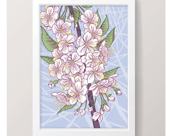 Blossom - Art Print // Illustrated Botanical Wall Art / Illustration Poster / Flowers & Plants Drawing / Home Decor