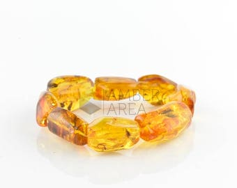 Amber Bracelet, Yellow color, Insect // 7264