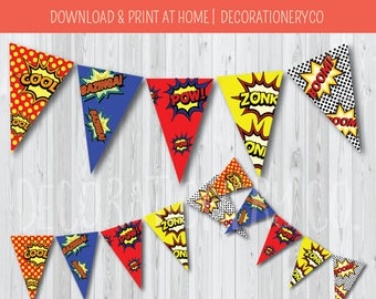 Super Hero Party Birthday Banner, Bunting, Comic Book Party, Pow, Zonk, Boom
