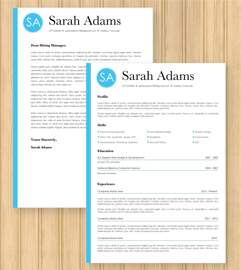 cv resume cover letter modern blue template instant word