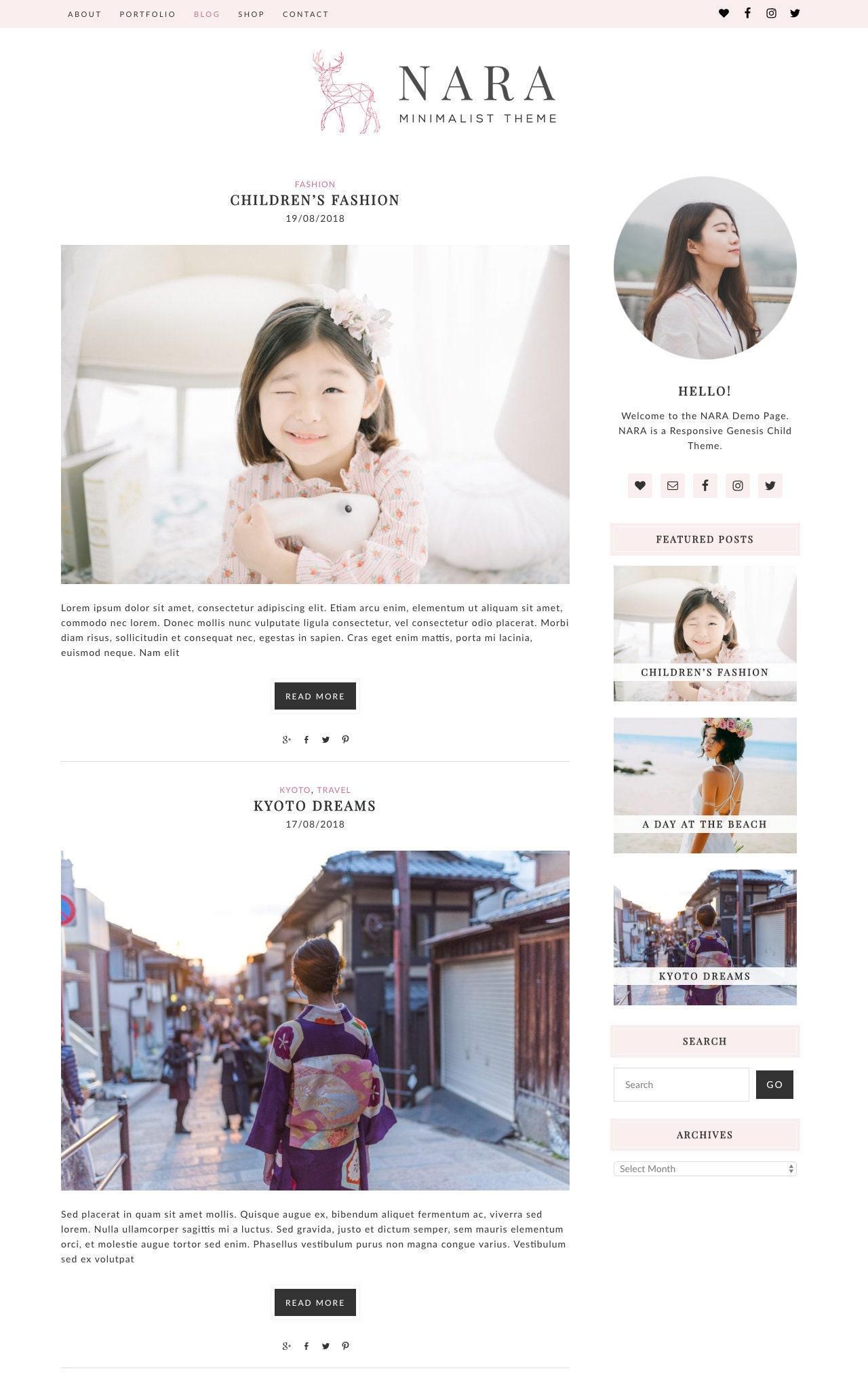 Nara Wordpress Genesis Child Theme Template Blog Shop Store Etsy