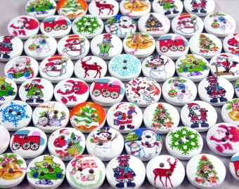 80 x 15mm round wooden mixed christmas buttons - Christmas Buttons
