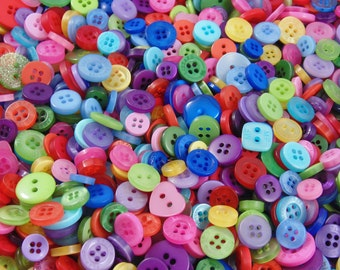 Bright Rainbow Small Mixed Buttons - Bulk/Job Lot/Scrapbooking/Card Making/Crafting