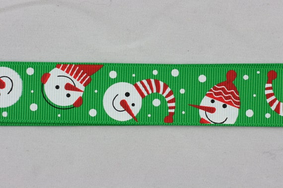 "CHRISTMAS SNOWMAN PATCHWORK 1/"" GROSGRAIN RIBBON 25MM"