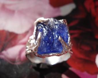 Blue Sapphire Ring-Sterling Silver Gemstone Ring-September Birthstone Ring-Engagement Ring K180
