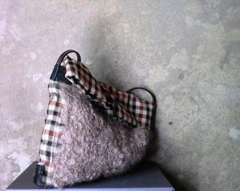 d8f53aae5a5 Made to order:Tas wol bont-look leren tas, gebreid, eco tas, Schotse stof,  Italiaans leer,eco design, kado voor haar. JJePa