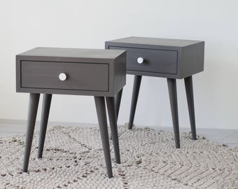 Gray Mid Century Nightstand | Bedside Table With Drawer | Mid Century  Modern Furniture | Scandinavian | Bedroom Furniture NO 02 EP